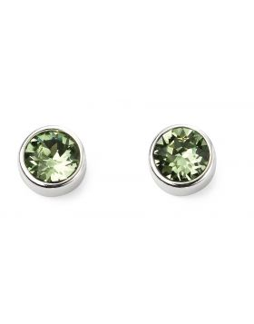 August Birthstone Peridot Swarovski Silver Stud Earrings