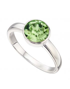 August Birthstone Swarovski Peridot  Silver Ring