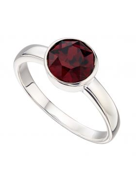 January Birthstone Swarovski Garnet  Silver Ring