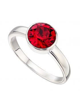 July Birthstone Ruby Swarovski Silver Ring