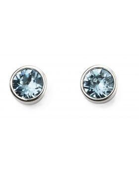 March Birthstone Aquamarine Swarovski Silver Stud Earrings