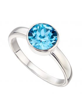March  Birthstone Swarovski Aquamarine Silver Ring