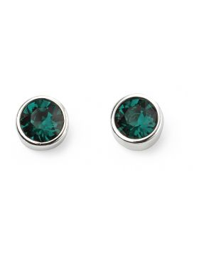 May Birthstone Emerald Swarovski  Silver Stud Earrings