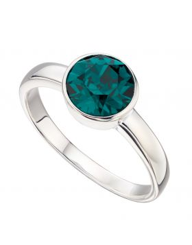 May Birthstone Swarovski Emerald Silver Ring