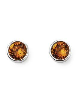 November Birthstone Topaz Swarovski Silver Stud Earrings