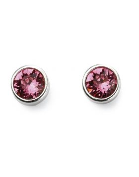 October Birthstone Rose Swarovski Silver Stud Earrings