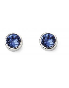 September Birthstone Sapphire Swarovski  Silver Stud Earrings